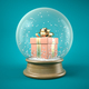Free Download Pink gift box in snow ball 3D illustration Nulled