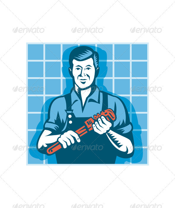 Plumber Worker With Monkey Wrench Retro - Industries Business