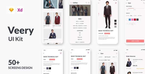 Veery E-Commerce UI Kit - Sketch Templates