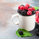 Cup of ripe blackberries and raspberries - PhotoDune Item for Sale