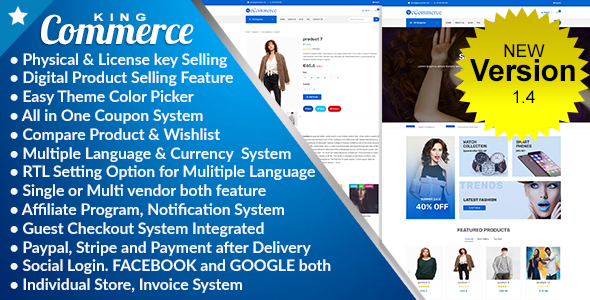 KingCommerce - All in One Single/Multi Vendor eCommerce Business Management System