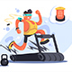 Cartoon Boy Running on Treadmill - GraphicRiver Item for Sale