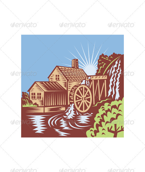 Water Wheel Mill House Retro - Buildings Objects