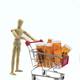 Wooden dummy carries shopping cart with bottles of pills, insulated on white background - PhotoDune Item for Sale