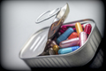 Can full of white and red capsules, conceptual image - PhotoDune Item for Sale