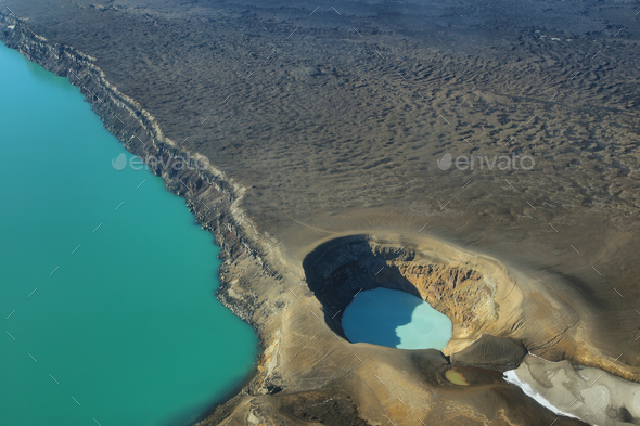 Aerial view of lake Lake Oskjuvatn and lake Viti in Askja region - Stock Photo - Images