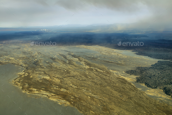 Aerial view of volcanic landscape - Stock Photo - Images