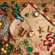 Hot chocolate and Christmas decoration over wooden background, top view - PhotoDune Item for Sale