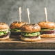 Vegan burgers with beetroot patties and green sprouts, square crop - PhotoDune Item for Sale