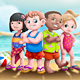 Kids on Beach Illustration - GraphicRiver Item for Sale