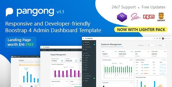 Pangong - Developer-friendly Bootstrap 4 Admin Dashboard Template - Admin Templates Site Templates