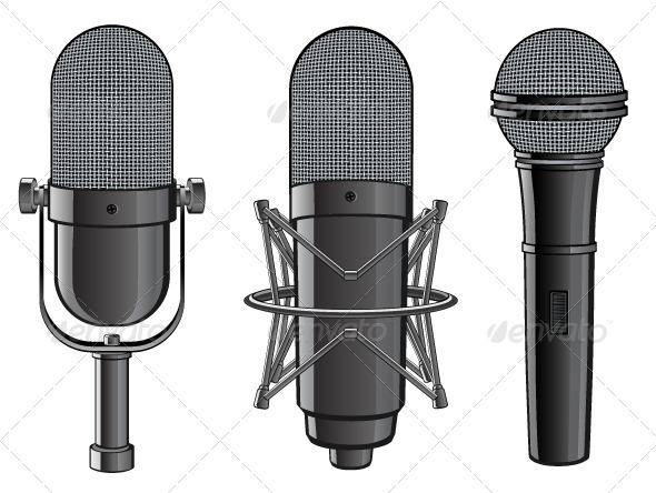 Isolated image of microphones - Media Technology
