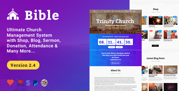 Bible - Church Management System With Shop, Donation, Sermon, Blog & Attendance - CodeCanyon Item for Sale