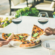 Summer dinner or lunch with pizza and wine - PhotoDune Item for Sale