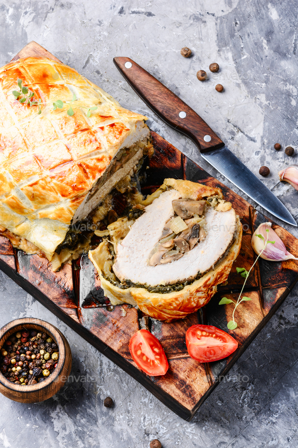 Meat, baked in puff pastry - Stock Photo - Images
