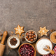 Christmas background. Table for holiday baking cookies with ingredients - PhotoDune Item for Sale