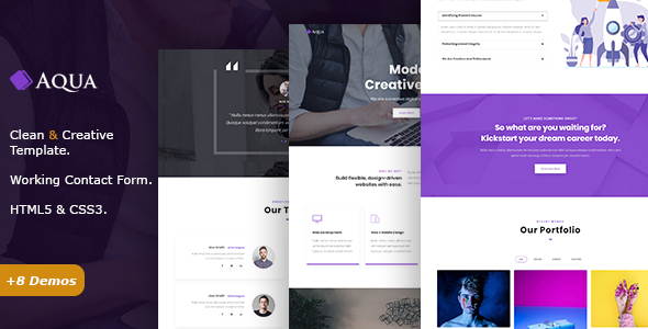 Aqua - Creative One Page Parallax - Creative Site Templates