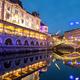 Triple bridges in the background, illuminated for New Year's celebration, Ljubljana, Slovenia - PhotoDune Item for Sale