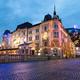Ljubljana's castle in the background, illuminated New Year's celebration, Ljubljana, Slovenia - PhotoDune Item for Sale