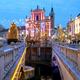 Christmas tree and Franciscan church, illuminated for New Year's celebration, Ljubljana, Slovenia - PhotoDune Item for Sale