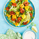 Mango shrimps salad with red pepper and lime juice. Seafood. Top view. Flat lay - PhotoDune Item for Sale