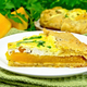 Pie of pumpkin and cheese in white plate on dark board - PhotoDune Item for Sale