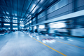 modern  steel structure production workshop with radial blur, blue tone - PhotoDune Item for Sale