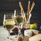 White wine with charcuterie assortment on the stone background - PhotoDune Item for Sale
