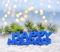 """Greeting """"Happy Holidays"""" on snow against the background of fest - PhotoDune Item for Sale"""