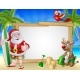 Santa Claus and Reindeer Christmas Beach Sign - GraphicRiver Item for Sale
