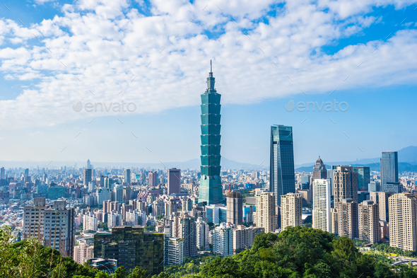 Beautiful landscape and cityscape of taipei 101 building and arc - Stock Photo - Images