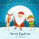 Happy Santa with Elf and Deer on Blue Christmas Background - GraphicRiver Item for Sale