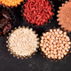 Various superfoods in small bowl on black background - PhotoDune Item for Sale