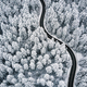 Curvy windy road in snow covered forest, top down aerial view - PhotoDune Item for Sale