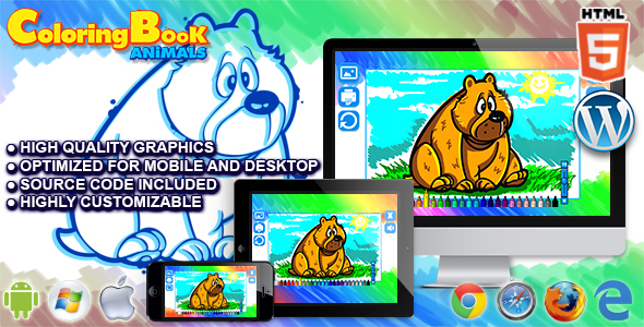 Html5 Coloring Book : Animals - HTML5 Game by codethislab | CodeCanyon