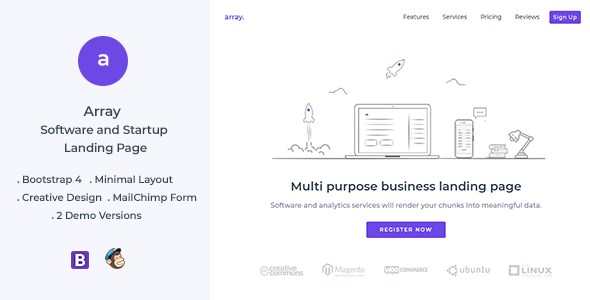 Array Minimal Landing Page Template