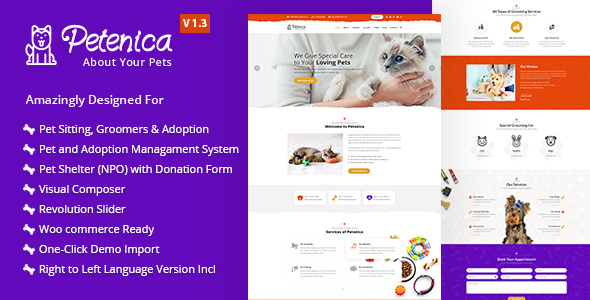petenica pet sitter and adoption wordpress theme by amplifythemes