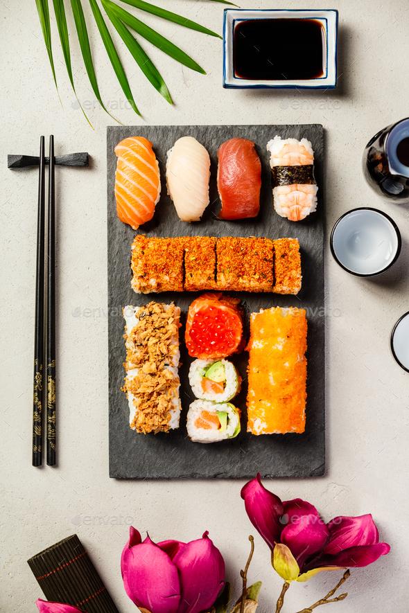 Flat-lay of sushi set - Stock Photo - Images