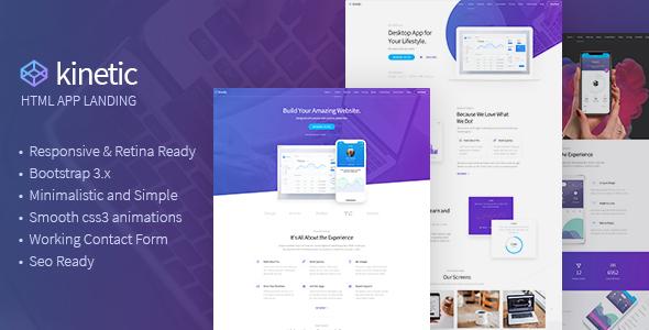 Kinetic - Desktop, Mobile & Product App Landing Pages by Nunforest