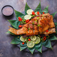 Deep fried fish with on bamboo leaves, copy space - PhotoDune Item for Sale