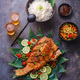 Thai cuisine deep fried fish with salad and rice, top view - PhotoDune Item for Sale