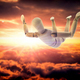 Doll wood flying in the sky in free fall, conceptual image - PhotoDune Item for Sale