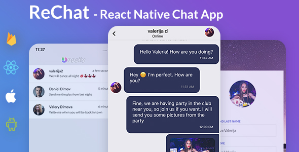 Chat App Template - React Native Expo by mobidonia   CodeCanyon