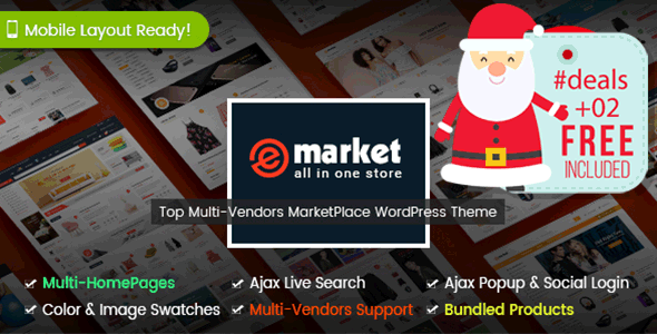 eMarket - The Multi-purpose MarketPlace WordPress Theme (7+ Homepages & 2 Mobile Layouts Ready) - WooCommerce eCommerce