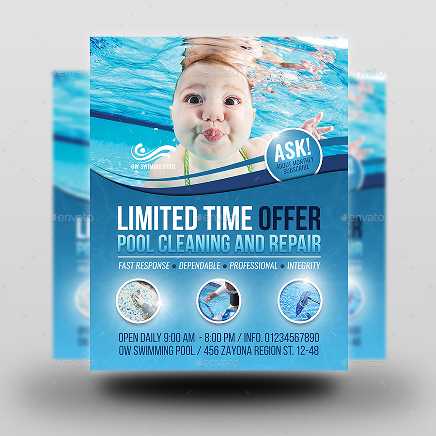 Swimming Pool Cleaning Service Flyer & Ad Template Design  Pool Service Advertising