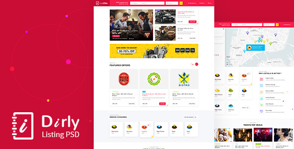 Dirly | Directory Listing PSD Template - Retail PSD Templates