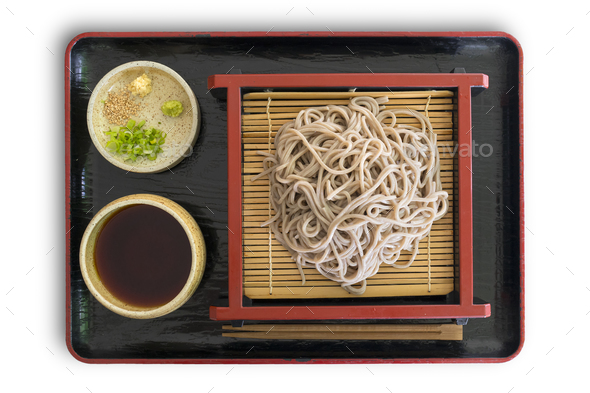 Tray with a traditional Japanese meal with cold soba noodles - Stock Photo - Images