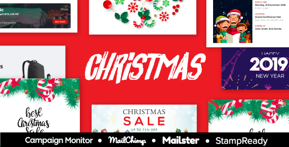 XMAS - Christmas & New Year Sale Multipurpose Responsive Email Template With StampReady Builder - Newsletters Email Templates