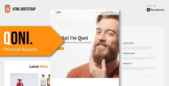 Qoni Personal Resume Html Template By Rometheme Themeforest