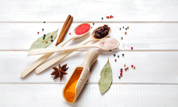 Spices on a white background. Nicely laid out - Stock Photo - Images